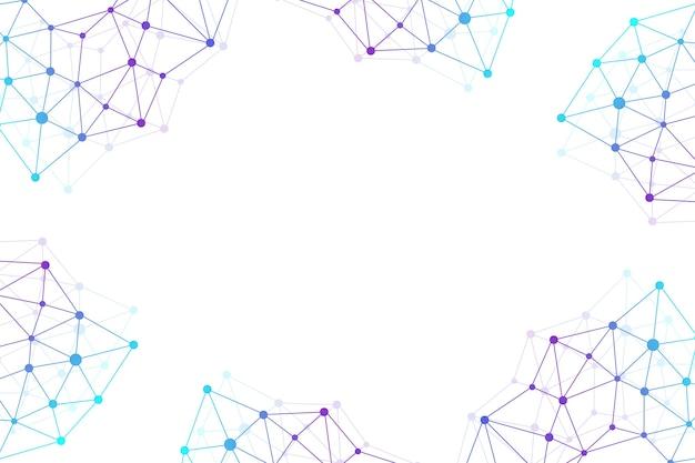 Geometryczne tło graficzne cząsteczki i komunikacja. kompleks big data ze związkami. splot linii, minimalny szyk. wizualizacja danych cyfrowych. naukowa ilustracja cybernetyczna.