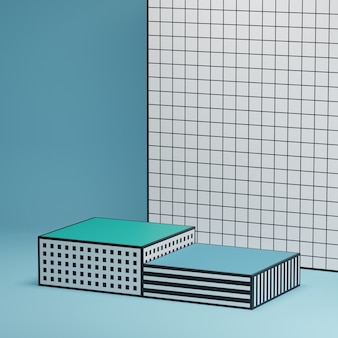 Geometryczne wzorzyste platformy do prezentacji produktów na niebieskim wzorzystym tle