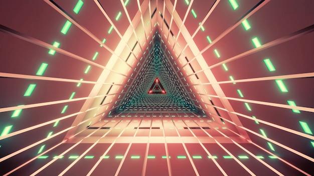 Geometryczny czerwony tunel w kształcie trójkąta oświetlony neonowymi zielonymi lampami