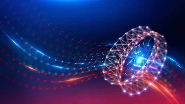 Geometryczny krajobraz i futurystyczna cyfrowa technologia blockchain fintech.