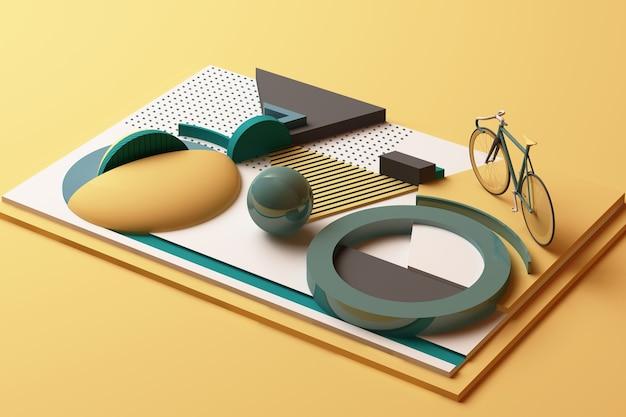 Geometryczny kształt bike sport concept w żółto-zielonej tonacji. renderowanie 3d