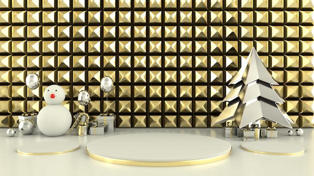 Geometryczny kształt choinki sceny pojęcia dekoraci renderingu 3d