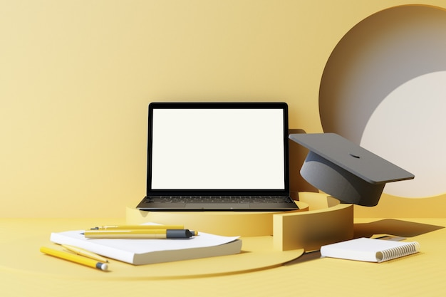 Geometryczny kształt minimalna kompozycja i przybory szkolne na żółtym pastelowym tle educationback to school concept malują ołówki i laptop akcesoria szkolne i czapka dyplomowa renderowania 3d