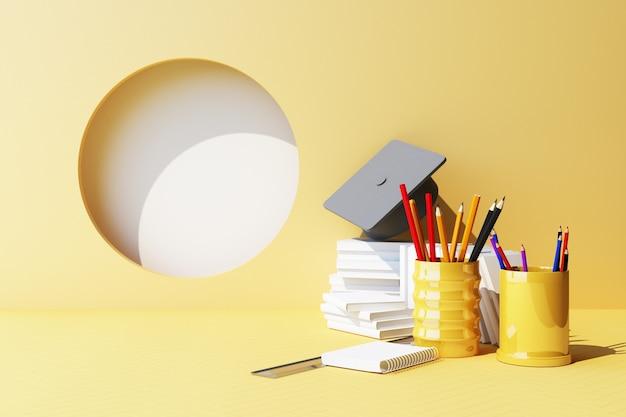 Geometryczny kształt minimalna kompozycja i przybory szkolne na żółtym pastelowym tle edukacja z powrotem do szkoły koncepcja malowania ołówkami i nożyczkami akcesoria szkolne i kapelusz ukończenia szkoły 3d render