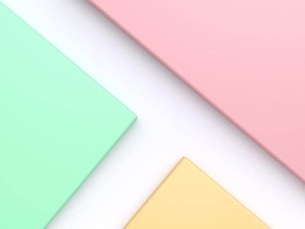 Geometryczny kształt nachylony minimalny abstrakcyjny rendering 3d różowy prawy górny zielony lewy żółty