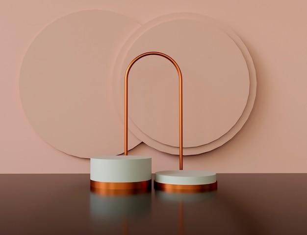 Geometryczny kształt tła z podium do wyświetlania produktów w pastelowych łososiowych i brązowych kolorach