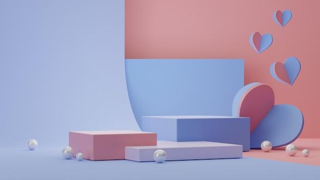 Geometryczny kształt tła z podium, sercem i dekoracją