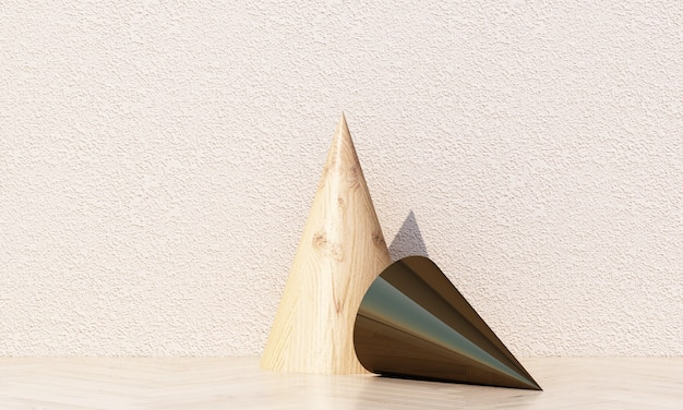 Geometryczny kształt w pastelowych kolorach z fakturą drewna i betonu