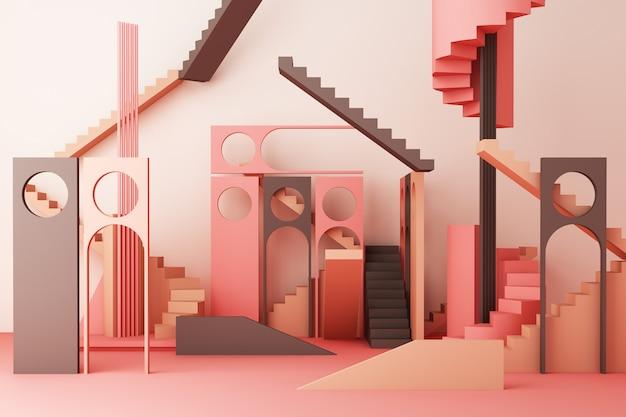Geometryczny kształta skład z schodkiem i łukiem na różowym 3d renderingu