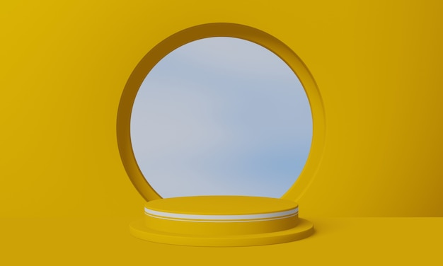 Geometryczny stojak na produkty z tłem nieba