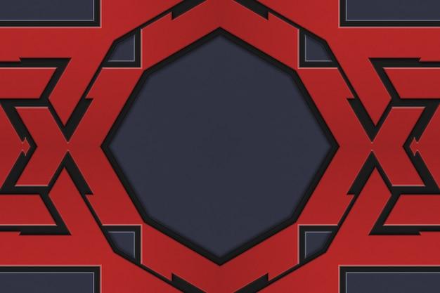 Geometryczny wzór w kolorze czerwonym, skandynawski styl celtycki. ilustracja abstrakcyjnego wzoru tkanego