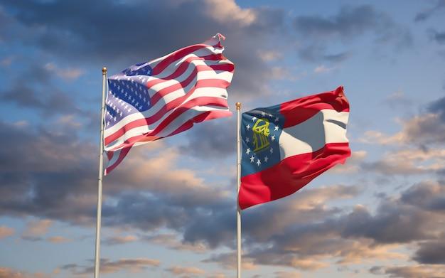 Georgia flagi stanu usa na tle nieba. grafika 3d