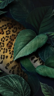Gepard na liściastym tle