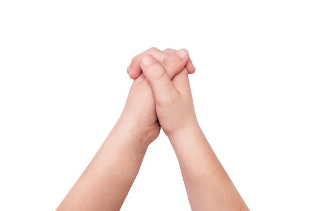 Gest dłoni złożonych z zamkiem na białym tle