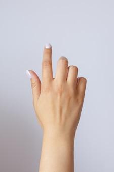 Gest i znak, ręka naciśnięcie przycisku lub ekranu, na świetle