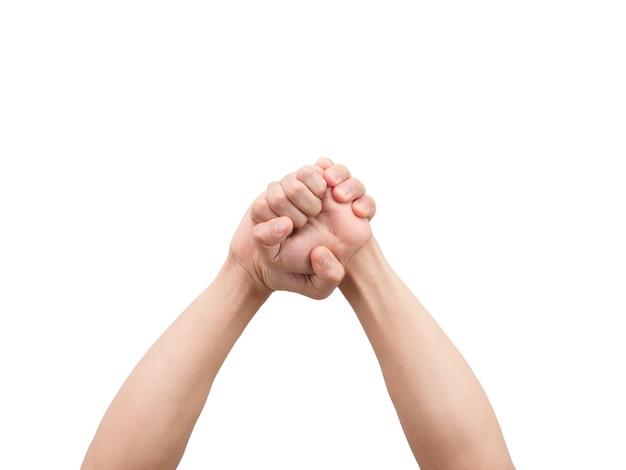Gest męskich rąk trzymający pięść białą na białym tle