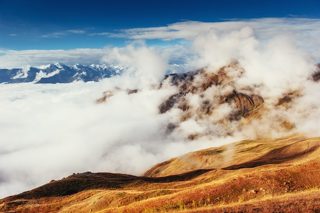 Gęsta mgła na przełęczy goulet. georgia, swanetia. europa.