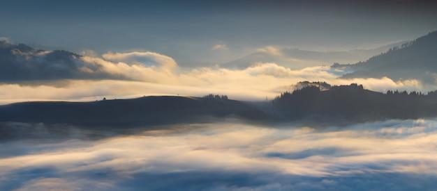 Gęsta mgła w górach karpat