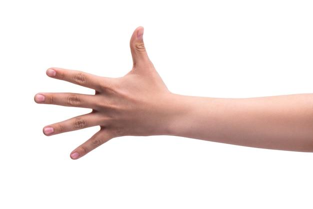 Gesty ręka jednej osoby pokazuje pięć palców