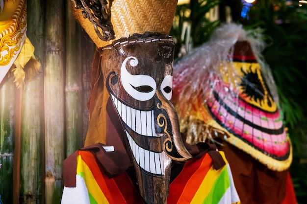 Ghost dance mask of thailand, phi ta khon, ghost mask festival lub halloween of thailand