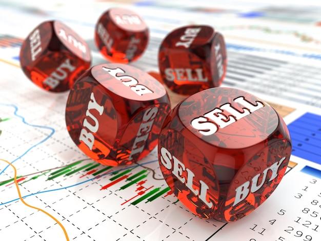 Giełda kup lub sprzedaj kości na wykresie finansowym 3d