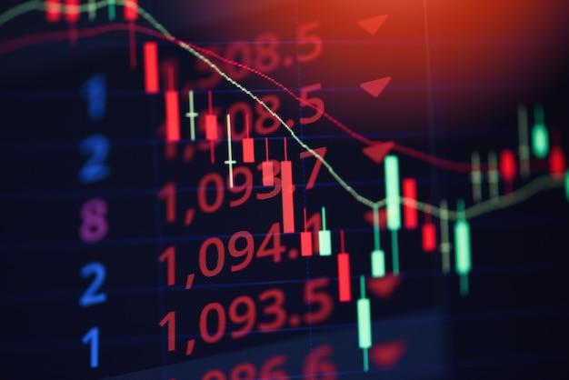 Giełda straty strata handlu wykres analiza analiza wskaźnik inwestycji wykresy biznesowe kryzys kryzys zapasów czerwony wykres cen spadek