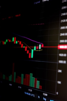 Giełda, wykres cen kryptowalut na ekranie. wykres świecowy, btc. giełda wymiany walut online. handel, licytacja. śledzenie kursu kryptowaluty. 4k. ścieśniać.