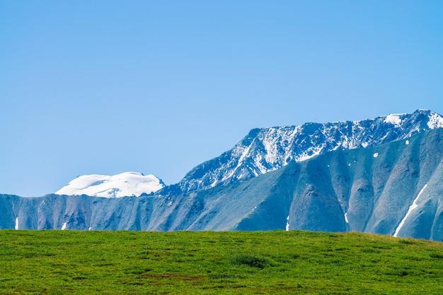 Gigantyczne góry z śniegiem nad zielona dolina w słonecznym dniu. lodowiec pod niebieskim niebem. łąka z bogatą roślinnością wyżynną w słońcu. niesamowity śnieżny górski krajobraz majestatycznej przyrody.