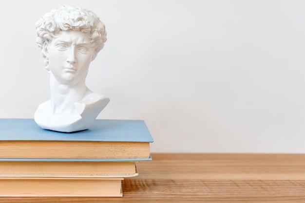 Gipsowa kopia głowy dawida na półce z książkami