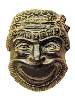 Gipsowe maski teatralne starożytnego rzymu na białym tle