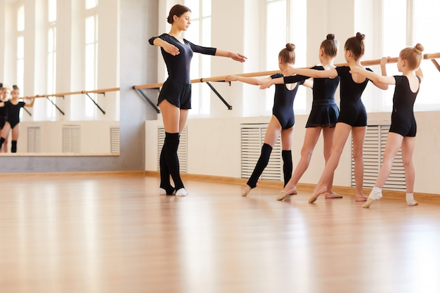 Girls in ballet school