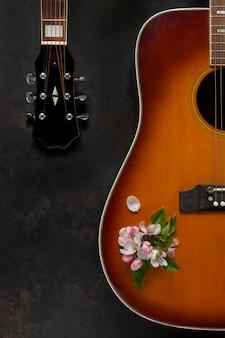 Gitara akustyczna i kwiaty jabłoni