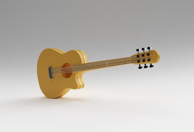 Gitara akustyczna renderowania 3d na białym tle projektowanie ilustracji 3d.
