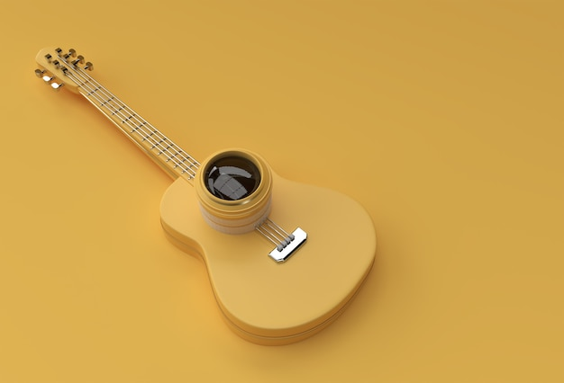 Gitara akustyczna renderowania 3d z obiektywem aparatu 3d ilustracji projekt.