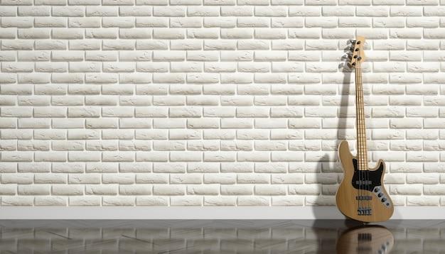 Gitara elektryczna na tle beżowego muru, ilustracji 3d