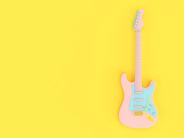 Gitara elektryczna w jednolitych kolorach różowy, niebieski i żółty na żółtym tle.