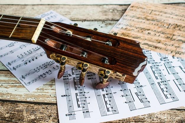 Gitara i muzyka, gitara i nuty, instrumenty, gitara i nuty
