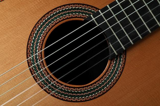 Gitara klasyczna na całym tle, z bliska