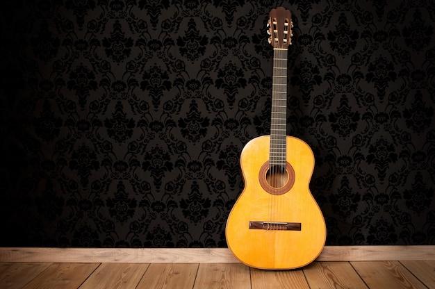 Gitara klasyczna w tle vintage