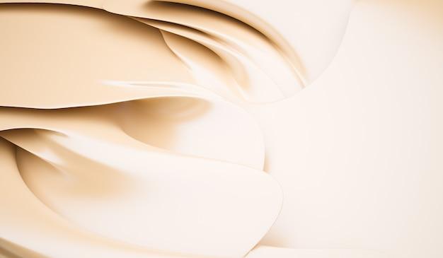 Gładka elegancka kremowa tekstura jedwabiu lub satyny może służyć jako zbliżenie tła marszczonej kremowej tkaniny jedwabnej