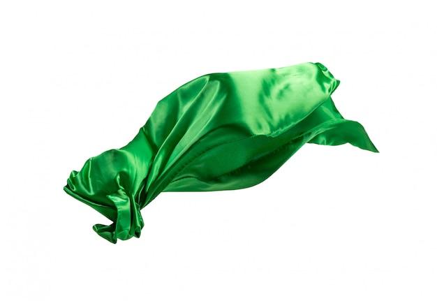 Gładka elegancka przezroczysta zielona tkanina oddzielona na białym tle