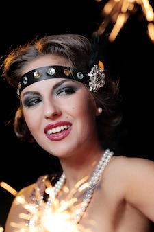 Glamour lady z czerwoną szminką