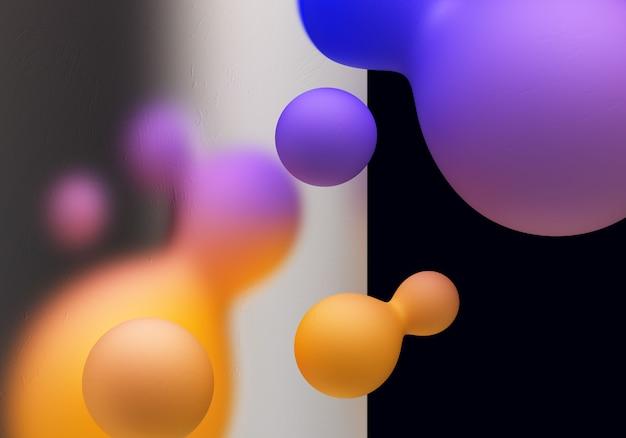 Glassmorphism 3d illustration przezroczysty element z płynnym kształtem gradientowym tłem 3d