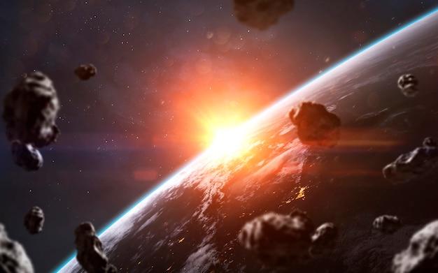 Głęboka przestrzeń. tapeta science fiction, planety, gwiazdy, galaktyki i mgławice w niesamowitym kosmicznym obrazie. elementy tego zdjęcia dostarczone przez nasa