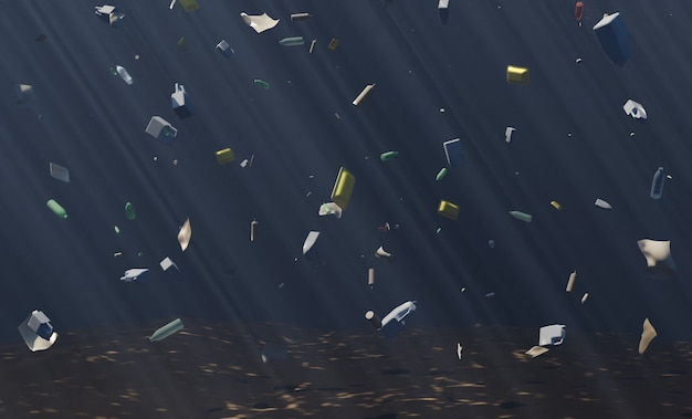 Głęboki ocean z dużą ilością pływających śmieci. zmiana klimatu. renderowania 3d