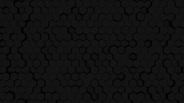 Głębokie ciemne sześciokątne tekstury komórek. plaster miodu czarne tło. geometria izometryczna.