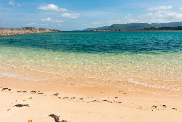 Głęboko szmaragdowo zielone morze, glony w piasku, górze i molo na tle. wyspa iriomote.