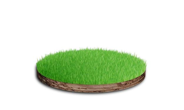 Gleby okrągły przekrój z trawą na białym tle. renderowanie 3d