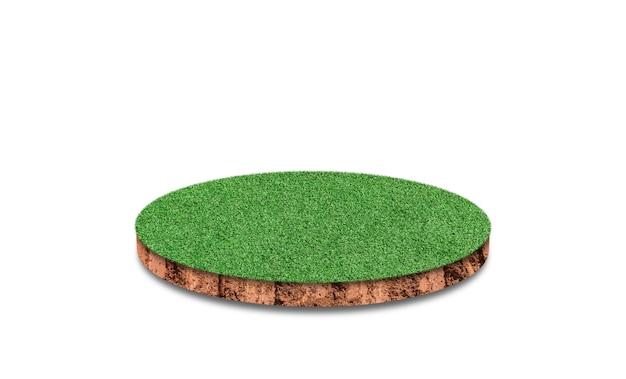 Gleby okrągły przekrój z zielonej trawie na białym tle.