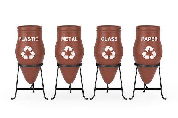 Gliniane garnki na śmieci ze znakiem recyklingu i sortowania odpadów na białym tle. renderowanie 3d